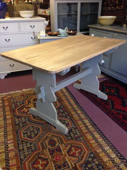 1930's Painted Pine Trestle Table