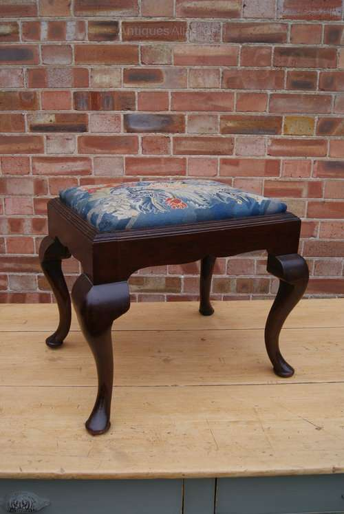 19th Century Mahogany Upholstered Stool