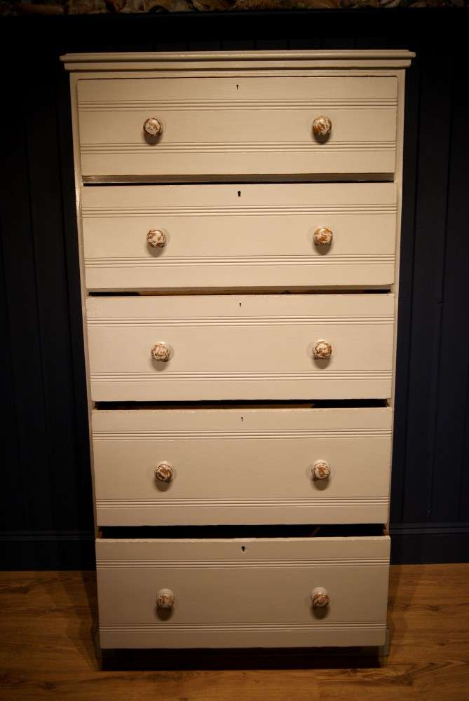 Edwardian Painted Ash Chest Of Drawers4