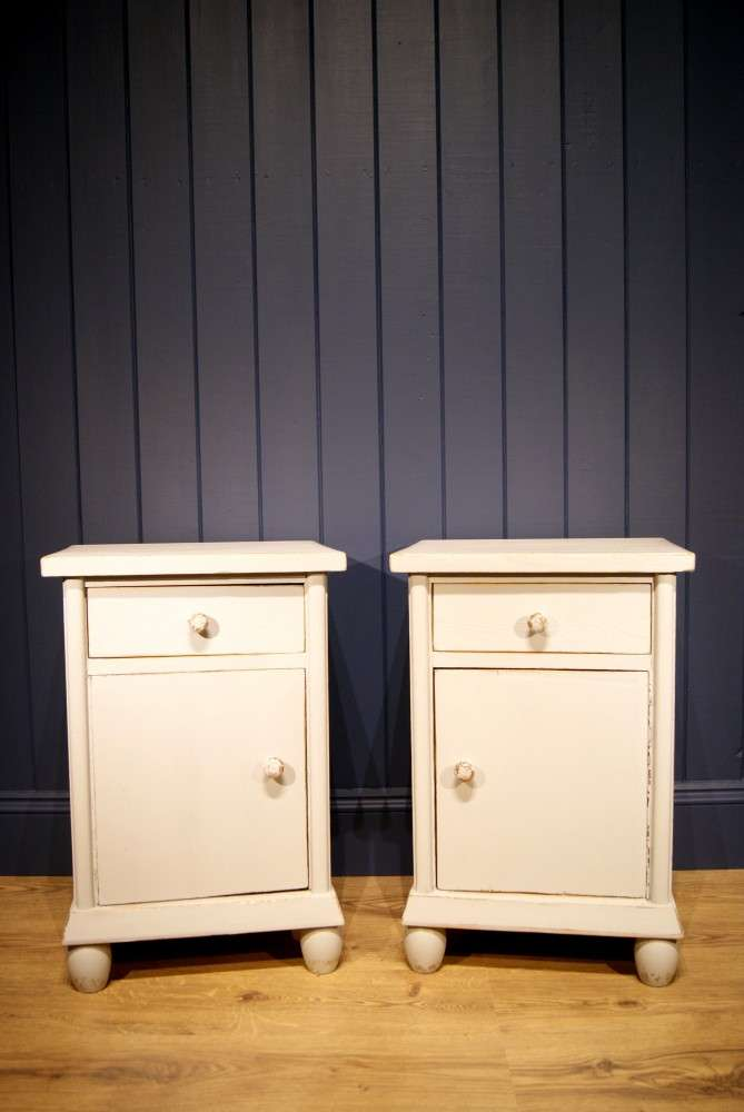 1920's French Painted Pine Bedside Cupboards