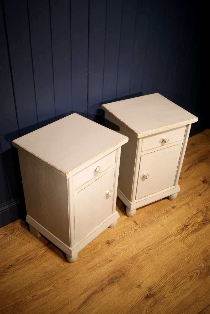 1920's French Painted Pine Bedside Cupboards2