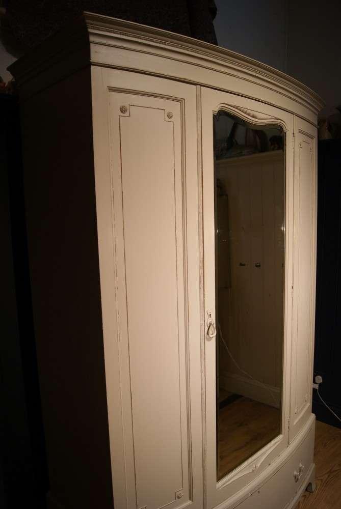 Edwardian Painted Mahogany Bow Front Wardrobe1