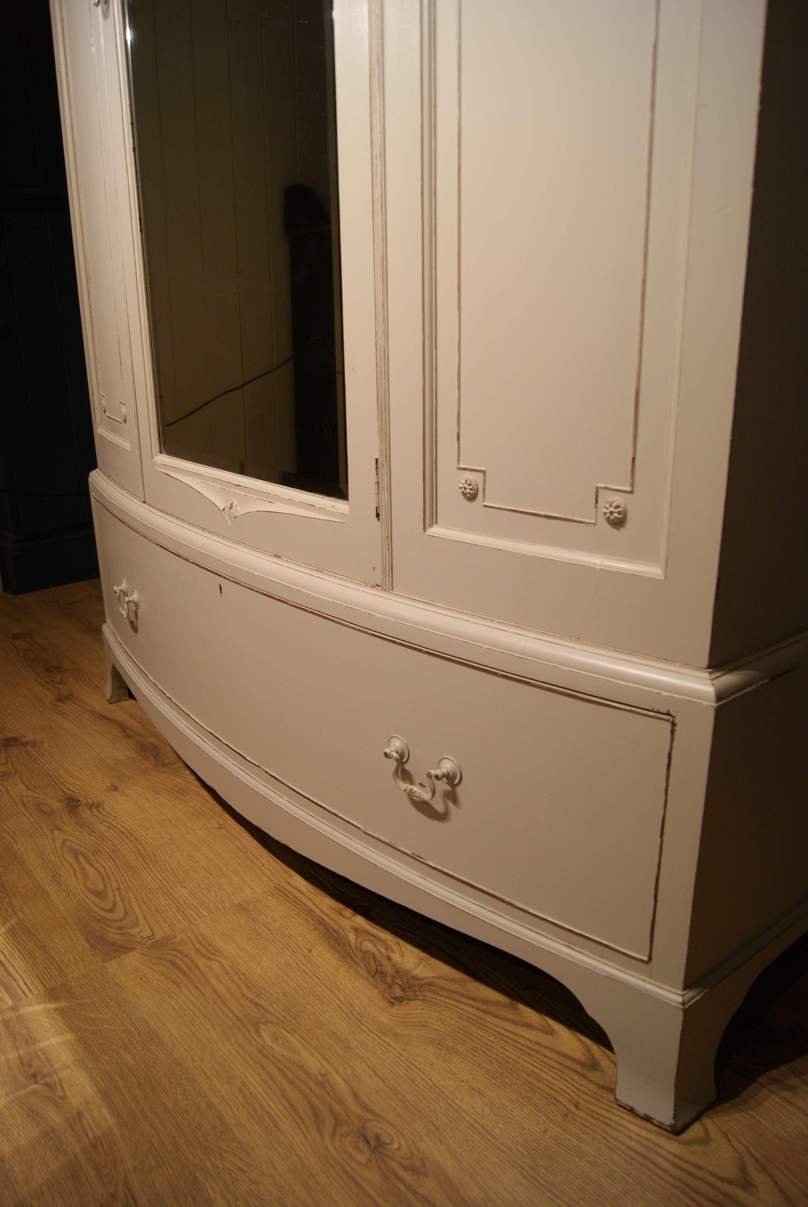 Edwardian Painted Mahogany Bow Front Wardrobe2