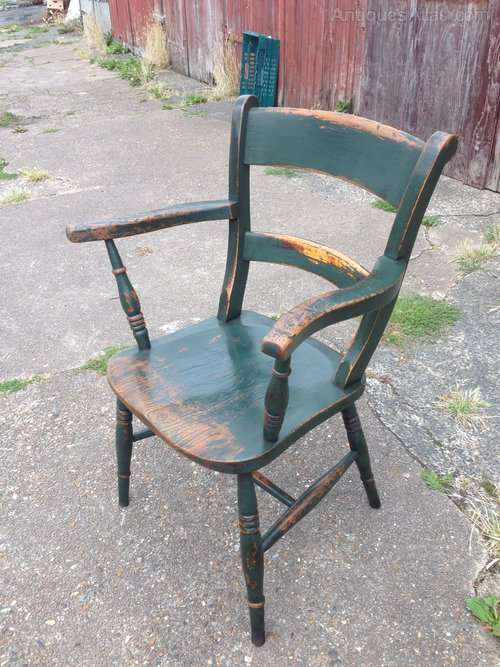Early Victorian Painted Elm Chair