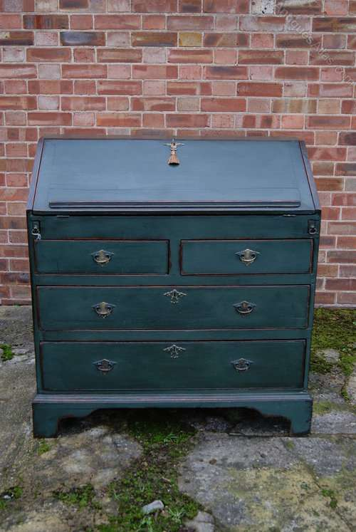 Early Victorian Painted Oak Bureau