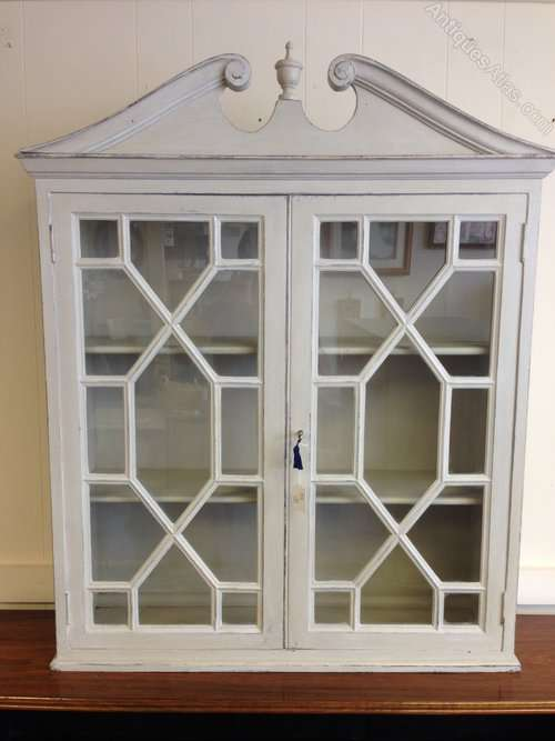 Edwardian Painted Mahogany Glazed Cupboard