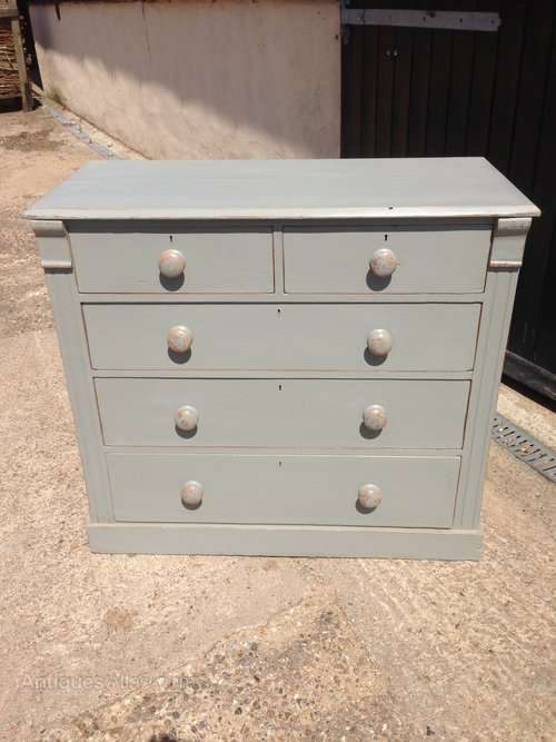 Edwardian Painted Pine 5 Drawer Chest