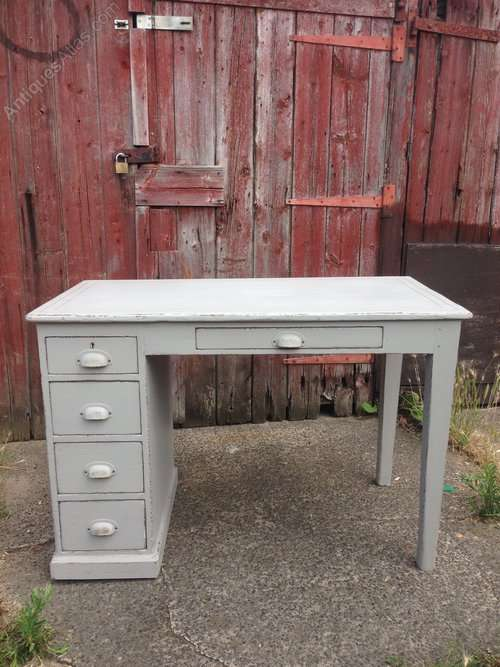 Edwardian Painted Pine School Desk