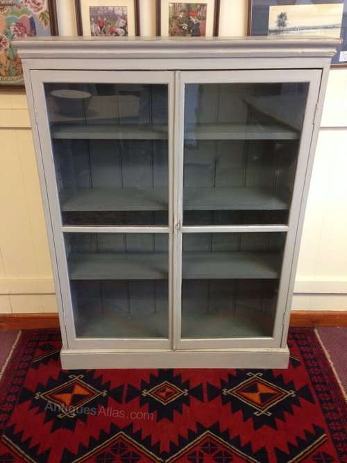Edwardian Painted Pine Glazed 2 Door Bookcase
