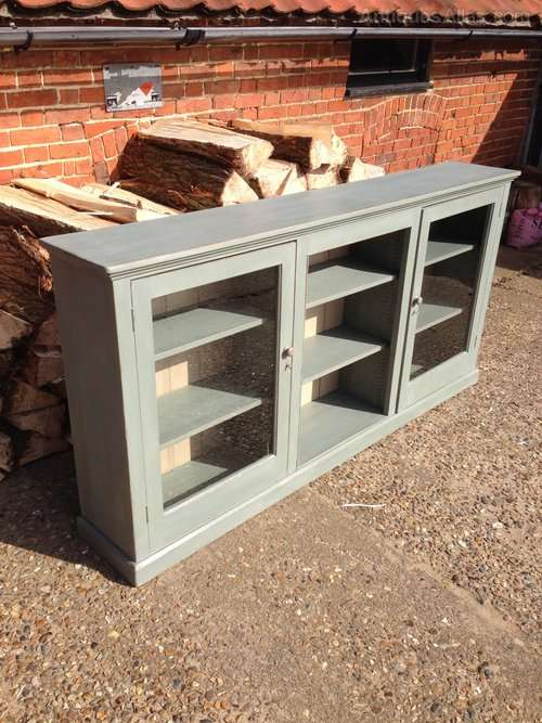 Edwardian Painted Pine Low Glazed Bookcase