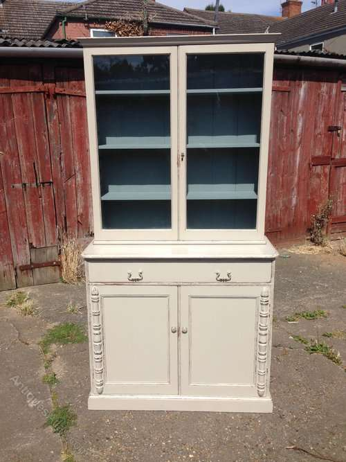 Edwardian Painted Pine And Oak Cupboard Bookcase