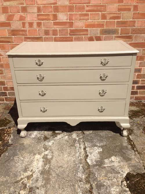Edwardian Painted Walnut Queen Anne Style Chest