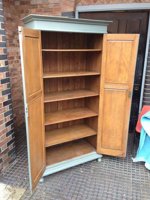 Edwardian Painted Oak Linen Cupboard