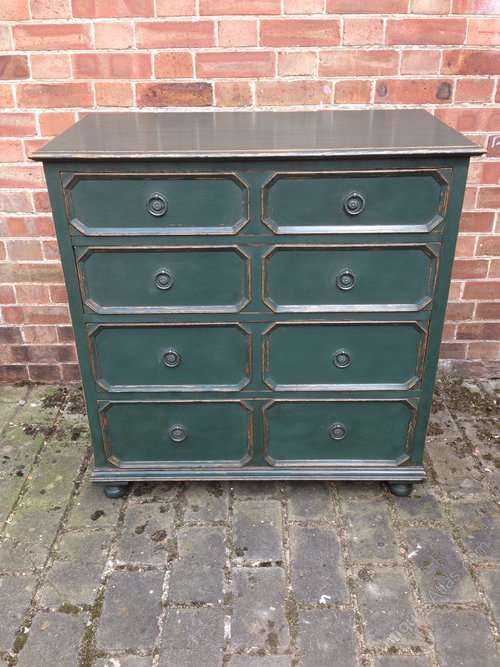 Jacobean Style Painted Oak Chest