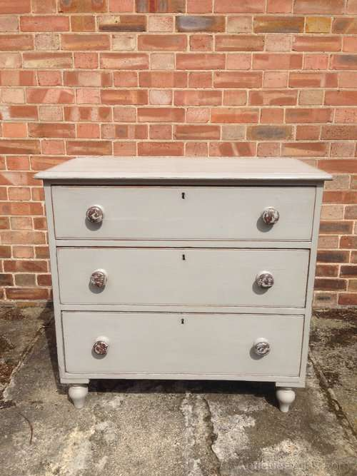 Victorian Painted Pine 3 Drawer Chest