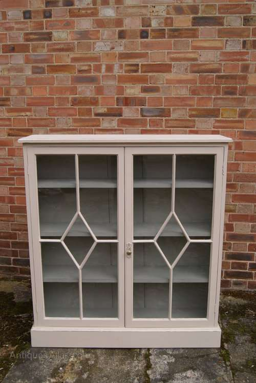 Late Victorian Painted Pine Glazed Bookcase