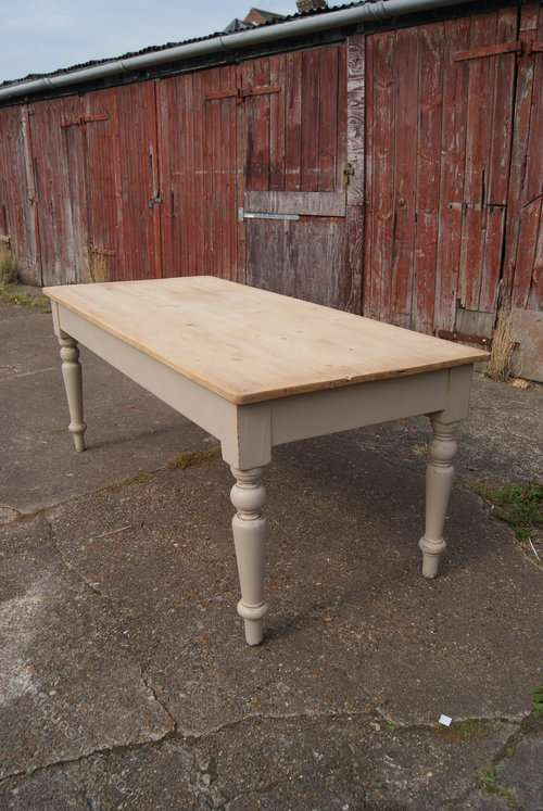 Late Victorian Painted Pine Farmhouse Table1