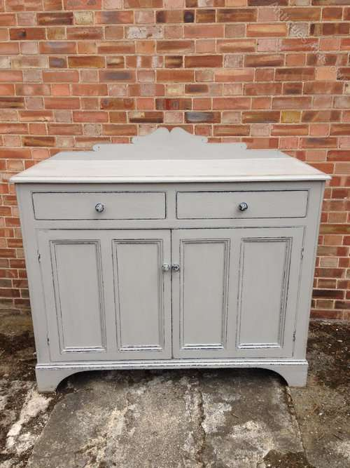Late Victorian Painted Pine Kitchen Cupboard