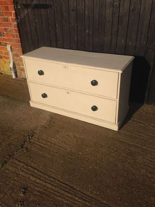 Victorian Painted Pine 2 Drawer Chest