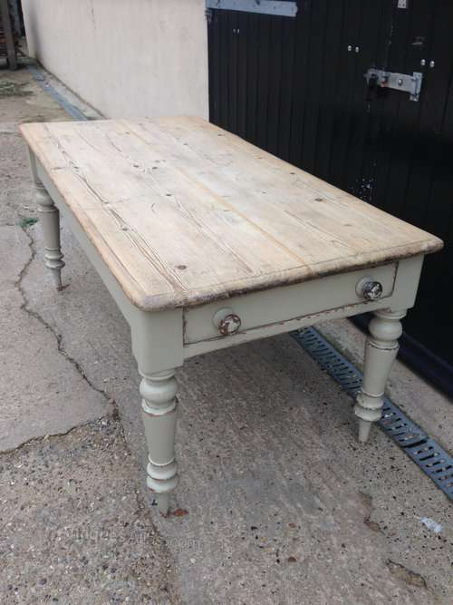 Mid 19th Century Painted Pine Dining Table