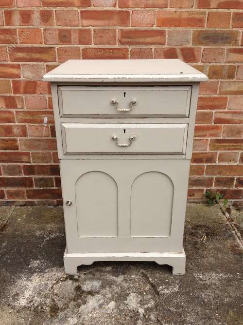 Mid Victorian Painted 2 Drawer Cupboard