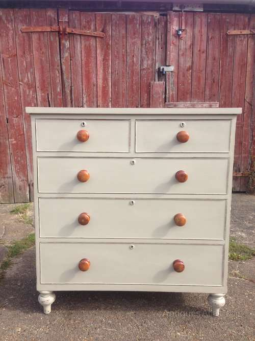 Mid Victorian Painted Mahogany Chest Of Drawers