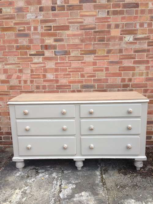 Mid Victorian Painted Pine 6 Drawer Base