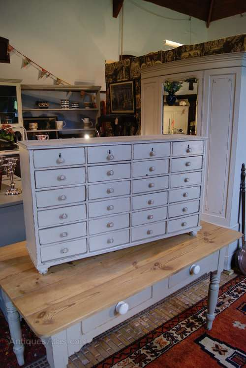 Mid Victorian Painted Pine Bank Of Drawers