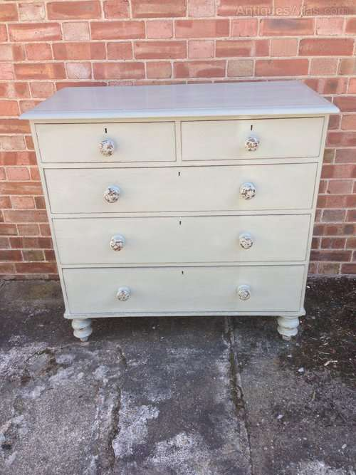 Mid Victorian Painted Pine Chest Of Drawers