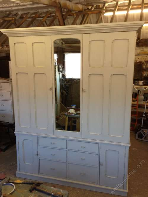 Mid Victorian Painted Pine House Keepers Cupboard