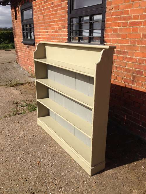 Mid Victorian Painted Pine Open Bookcase