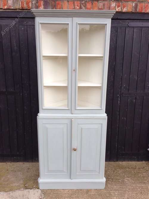 Old Painted Pine Glazed Corner Cupboard
