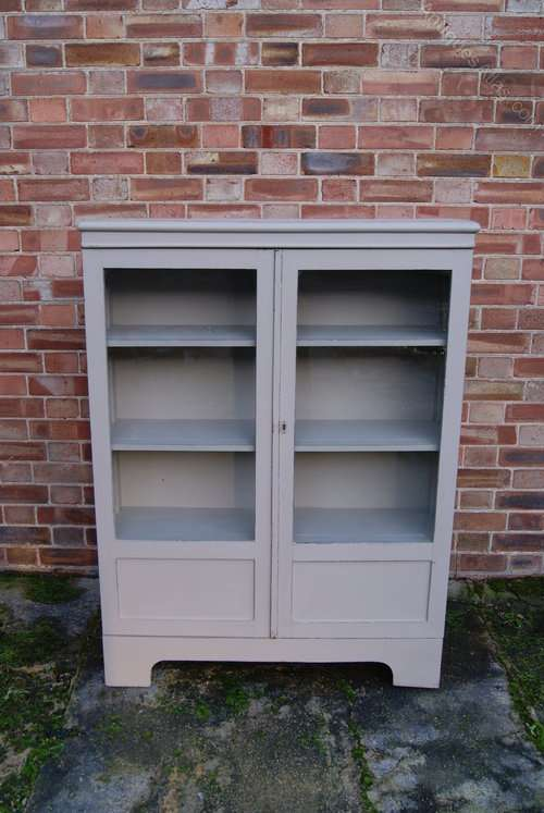 Painted Oak 1920's 2 Door Glazed Cupboard