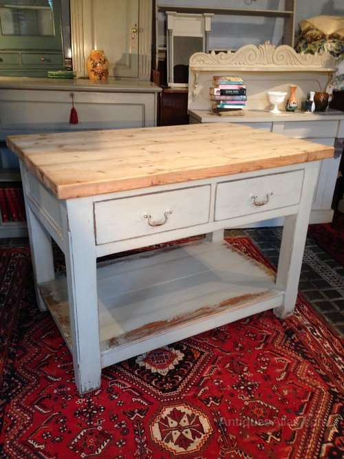 Painted Pine 4 Drawer Island Prep Table