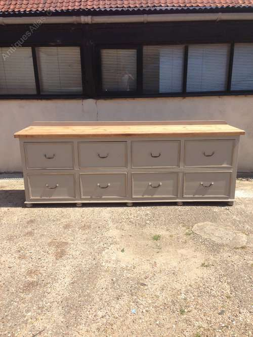 Painted Pine 8 Drawer Dresser Base