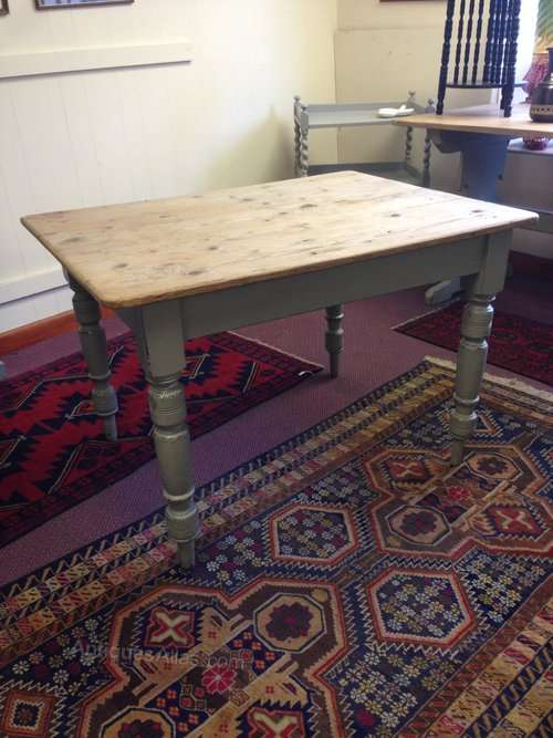 Victorian Painted Pine Scrubbed Top Table