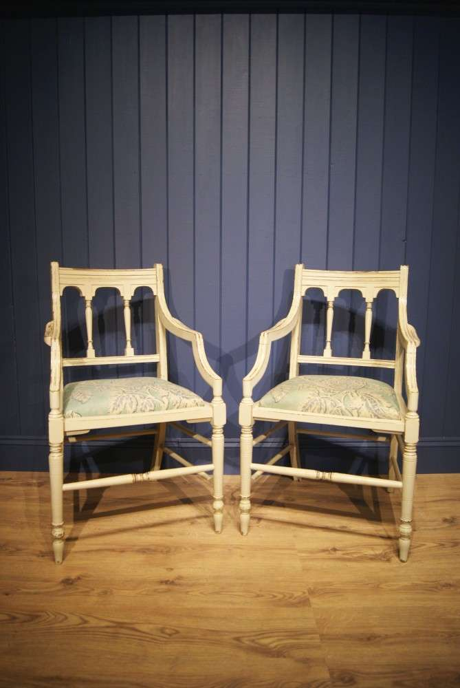 Pair Of Edwardian Painted Mahogany Armchairs