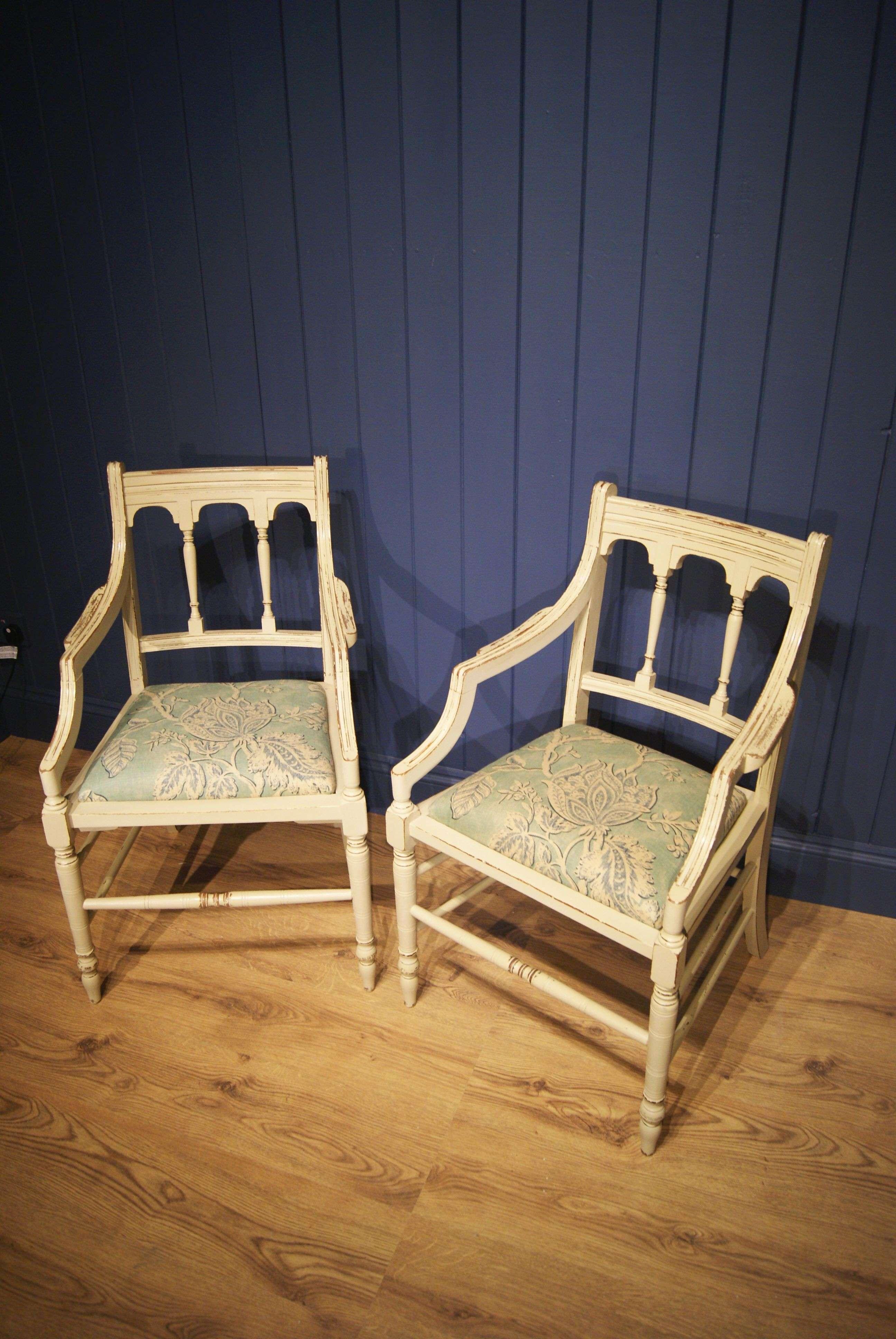 Pair Of Edwardian Painted Mahogany Armchairs1