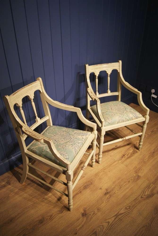Pair Of Edwardian Painted Mahogany Armchairs2
