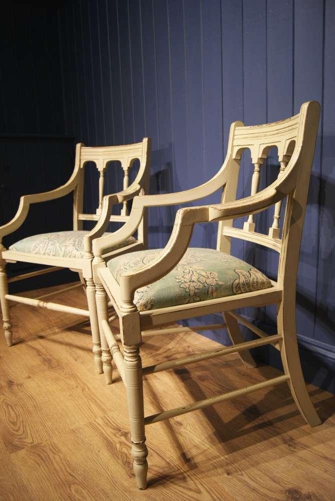 Pair Of Edwardian Painted Mahogany Armchairs3