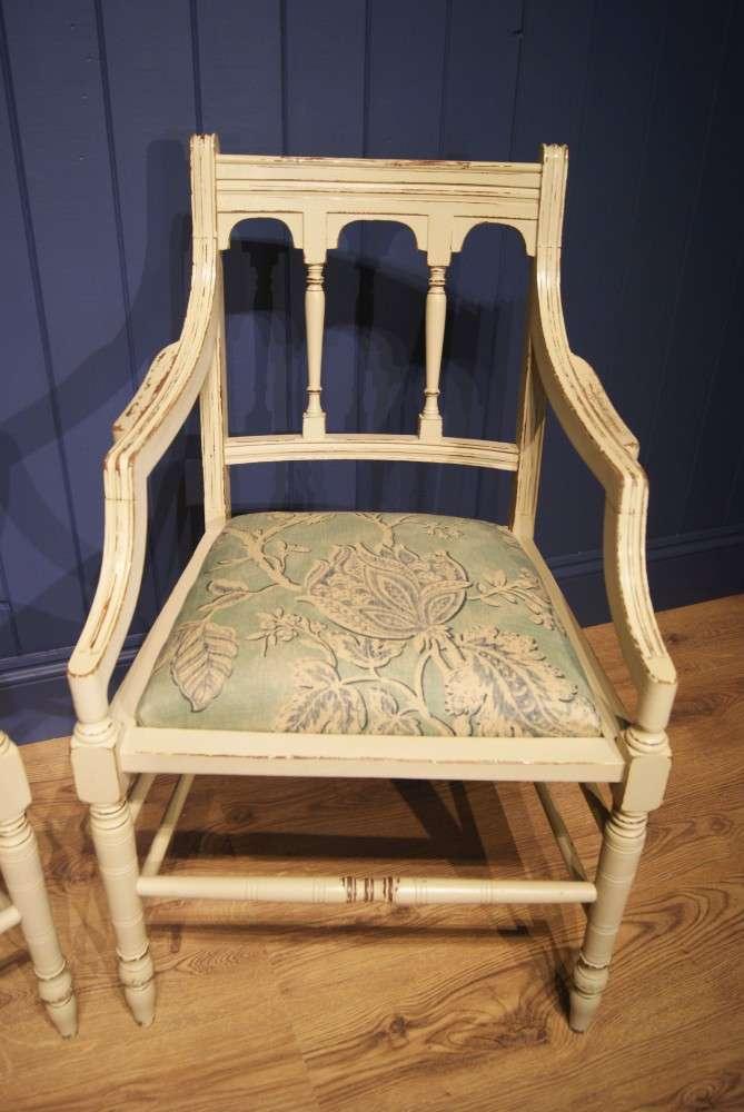 Pair Of Edwardian Painted Mahogany Armchairs4