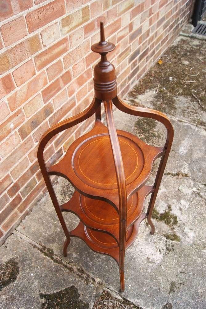 Edwardian Inlaid mahogany Cakestand1
