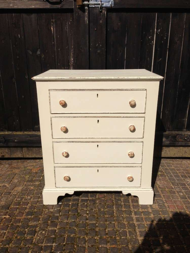 Edwardian Painted Oak 4 Drawer Chest