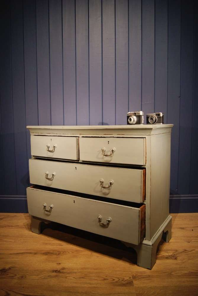 Georgian Painted Oak Chest Of Drawers2