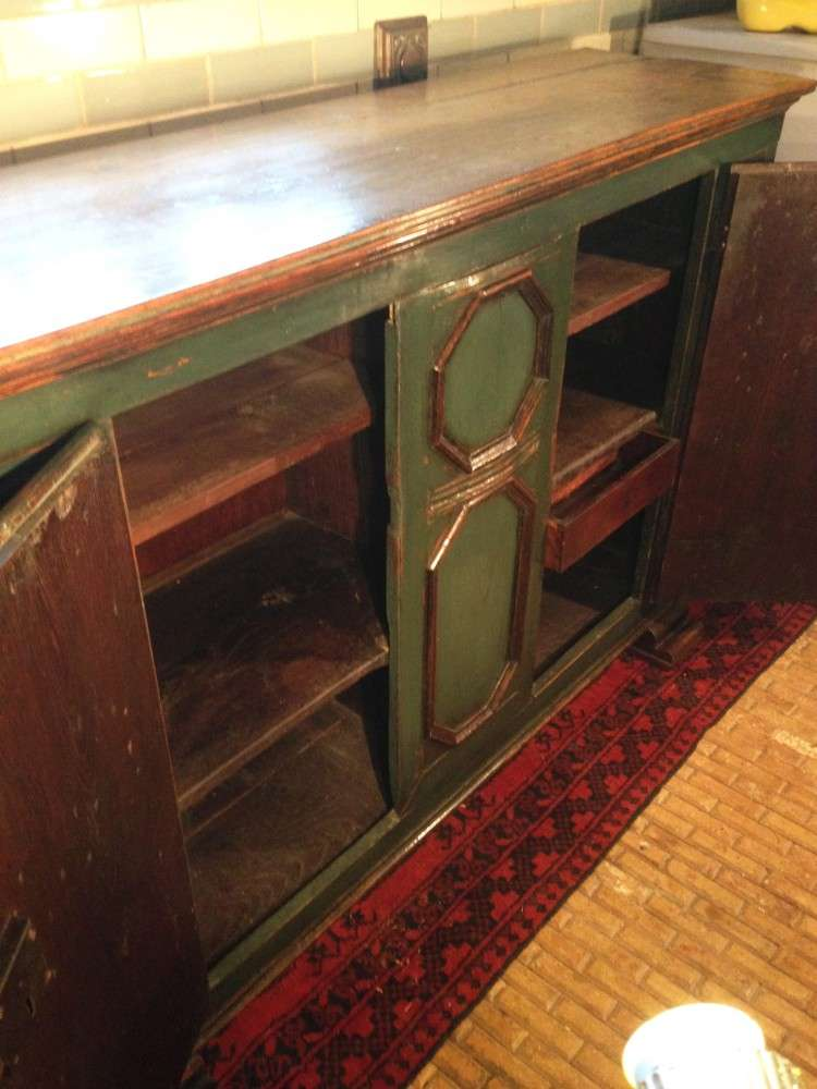19th Century French Painted Oak Cupboard5