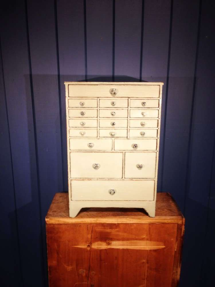 Mid Victorian Painted Pine Watch Makers Chest