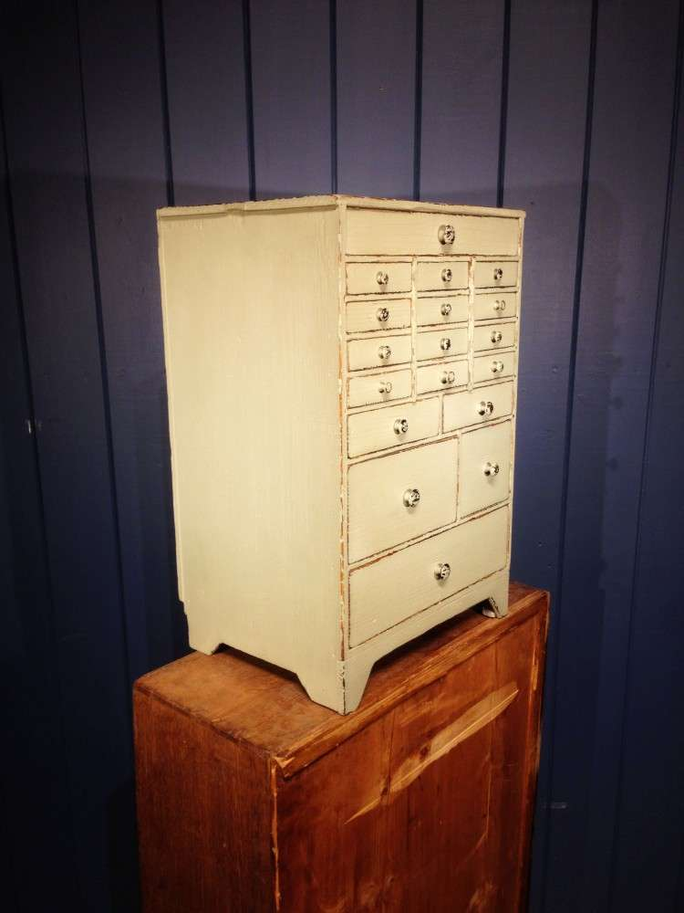 Mid Victorian Painted Pine Watch Makers Chest1