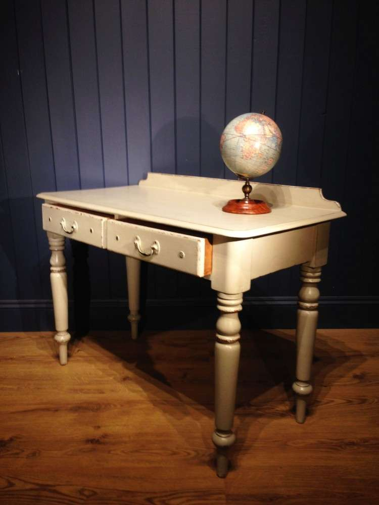 Mid Victorian Painted Pine Writing Dressing Table2