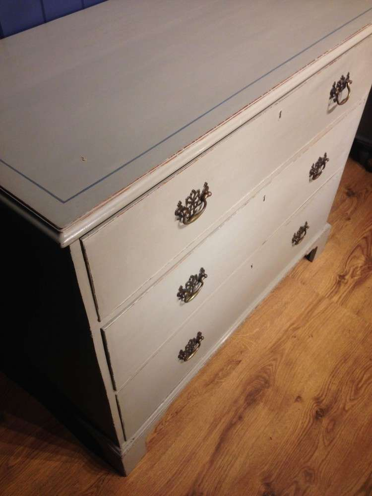 George III Painted Mahogany Pine Chest Of Drawers3