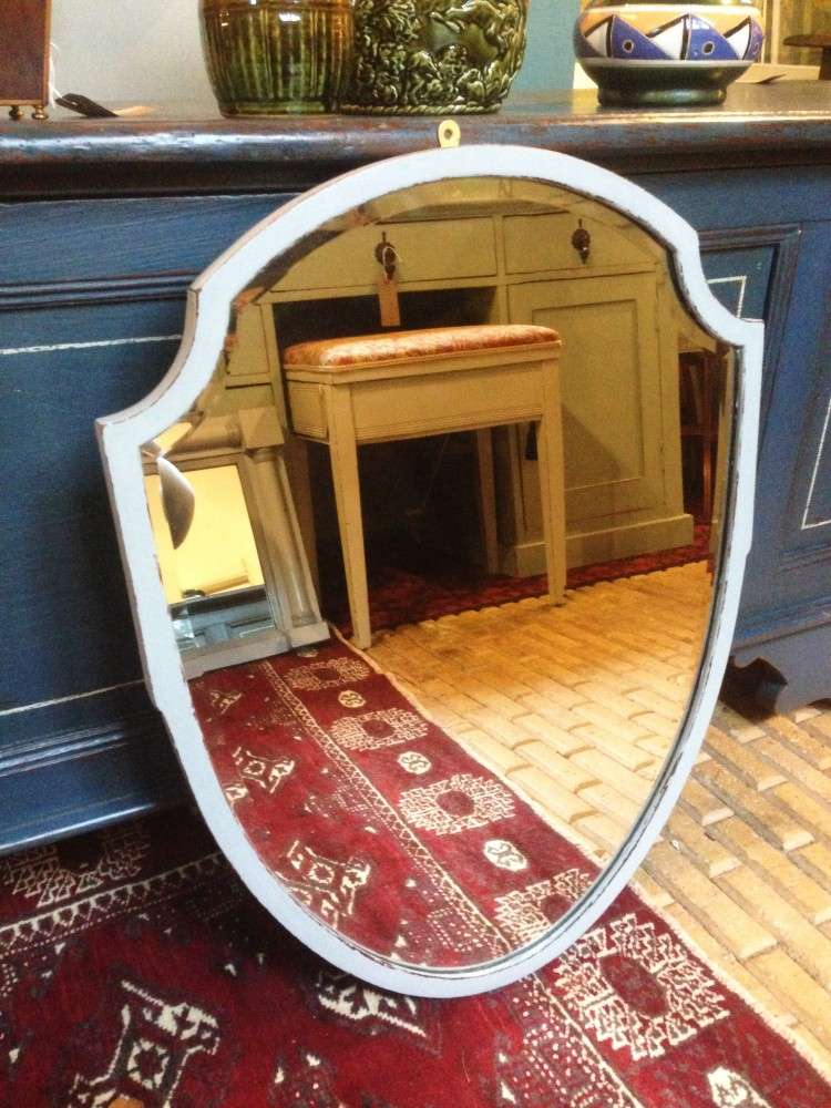 Edwardian Painted Mahogany Shield Mirror